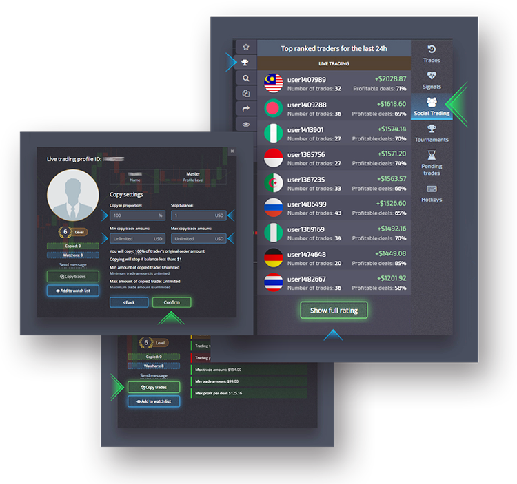 Social trading screenshot